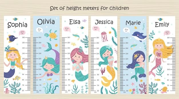 Conjunto de tabla de altura para niños con sirenas