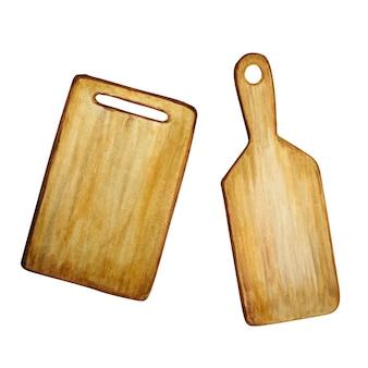 Conjunto de tabla de cortar de madera acuarela.