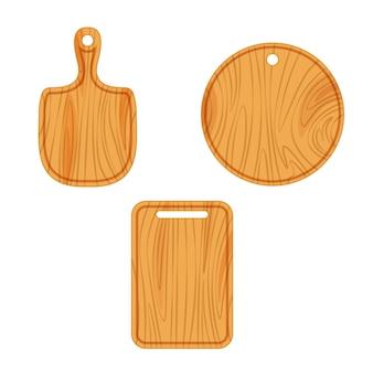 Conjunto de tabla para cortar madera en blanco aislado en blanco