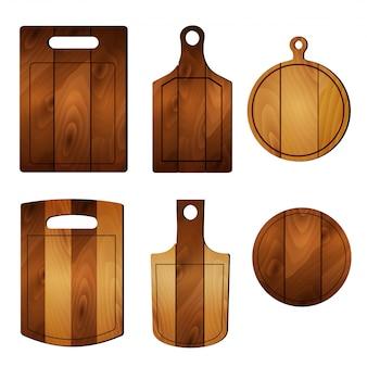 Conjunto de tabla de madera de corte de pizza. ilustración realista de colección con tablero de pizzas.