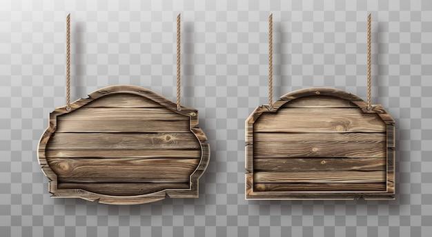 Conjunto de tablas de madera en cuerdas. letreros realistas