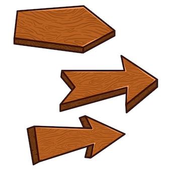 Conjunto de tablas de madera de dibujos animados. elemento para pancarta, póster, decoración de juegos. imagen