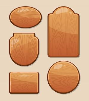 Conjunto de tablas de madera con diferentes formas.