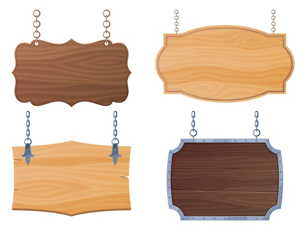 Conjunto de tablas de madera letreros índices tableros están colgando de cadenas pancartas para bares y salones ...