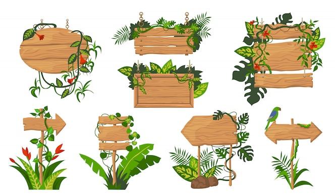 Conjunto de tablas de madera de la selva