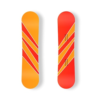 Conjunto de tablas de snowboard para la imagen de la estación de esquí, actividades de montaña, tabla de snowboard, icono plano, vector