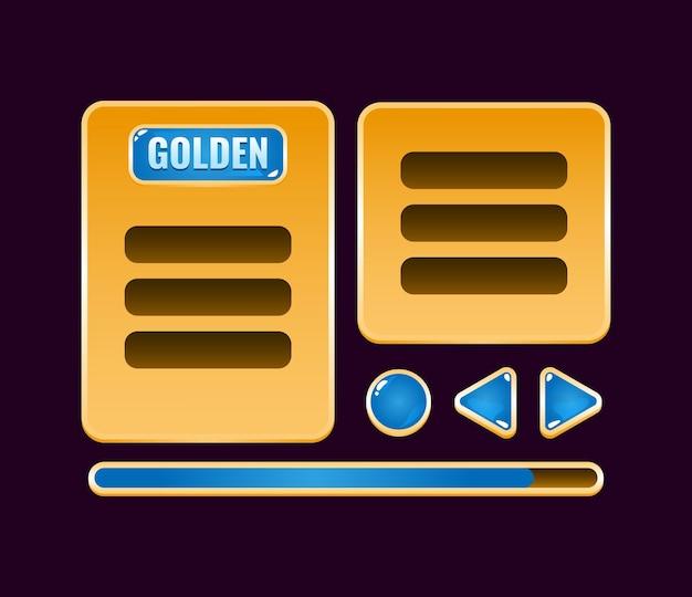 Conjunto de tablero de interfaz de usuario de juego de gelatina dorada emergente para elementos de activos de interfaz gráfica de usuario