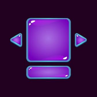Conjunto de tablero de interfaz de usuario de juego de gelatina de fantasía emergente para elementos de activos de interfaz gráfica de usuario