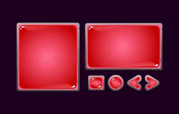 Conjunto de tablero de interfaz de usuario de juego de gelatina de piedra de fantasía emergente para elementos de activos de interfaz gráfica de usuario