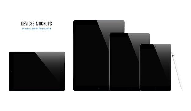 Conjunto de tabletas de color negro con protector de pantalla negro aislado sobre fondo blanco. maqueta de dispositivo realista y detallado