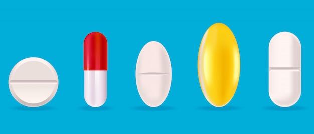 Conjunto de tabletas médicas. pastillas en estilo realista.