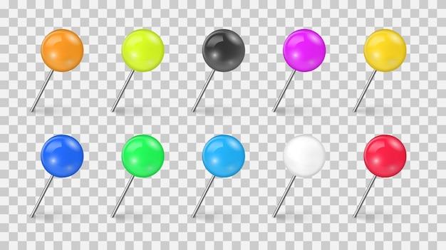 Conjunto de tachuela de alfiler de colores en diferentes escorzos aislado sobre fondo transparente. agujas de coser o tachuelas de plástico para avisos de papel. chinchetas realistas. ilustración.