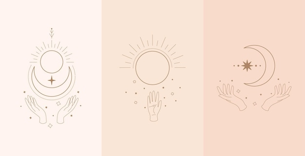 Conjunto de talismán celestial con manos de mujer. ilustración en estilo boho