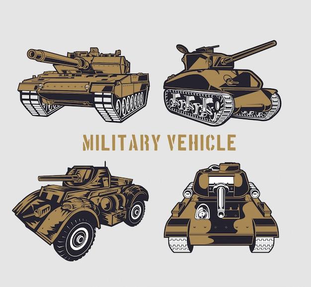 Conjunto de tanques militares