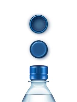 Conjunto de tapas de botella de agua azul plástico en blanco