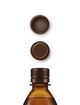 Conjunto de tapas de botellas de plástico marrón en blanco