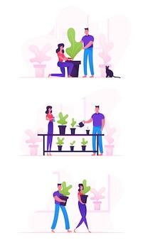 Conjunto de tarea de pareja de familia feliz con plantas. ilustración plana de dibujos animados