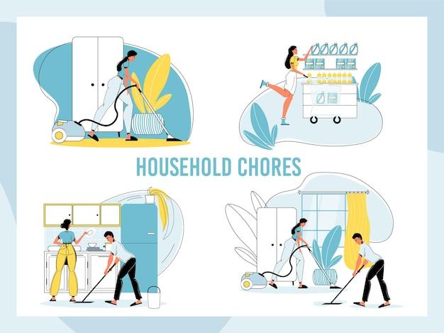 Conjunto de tareas domésticas familiares felices.