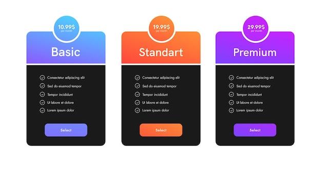 Conjunto de tarifas para sitio web. banner de web de interfaz de usuario de tabla de precios. diseño vectorial de columnas de lista de precios.