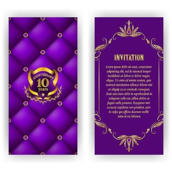 Conjunto de tarjeta de aniversario, invitación con corona de laurel, número.