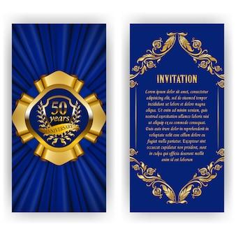 Conjunto de tarjeta de aniversario, invitación con corona de laurel, números.