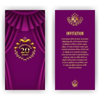 Conjunto de tarjeta de aniversario, invitación con corona de laurel y números