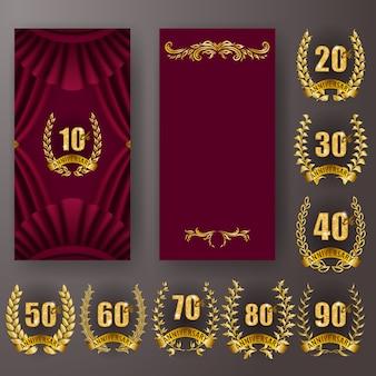 Conjunto de tarjeta de aniversario, invitación con corona de laurel con números