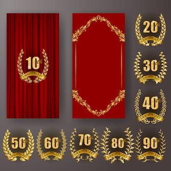 Conjunto de tarjeta de aniversario, invitación con corona de laurel