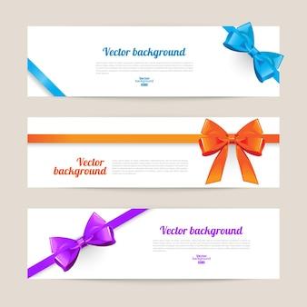 Conjunto de tarjeta con arcos de regalo