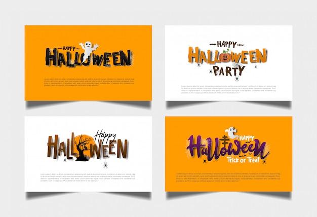 Conjunto de tarjeta blanca naranja de halloween