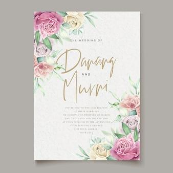 Conjunto de tarjeta de boda de elemento floral acuarela
