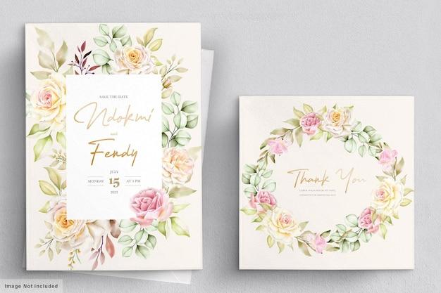 Conjunto de tarjeta de boda floral acuarela romántica
