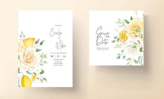 Conjunto de tarjeta de boda floral acuarela de verano con fruta de limón botánico