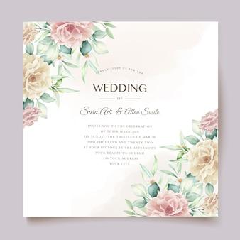 Conjunto de tarjeta de boda floral acuarela