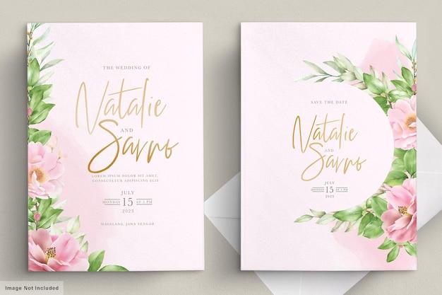 Conjunto de tarjeta de boda floral minimalista