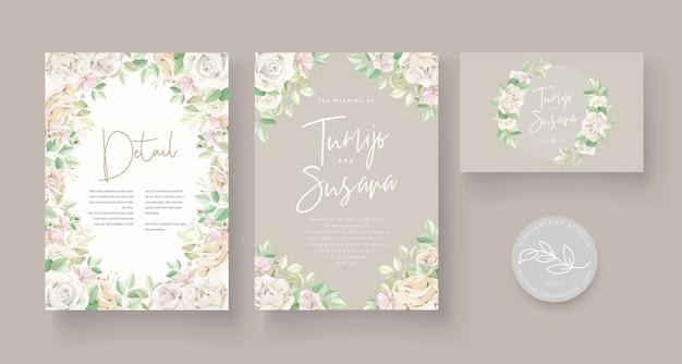 Conjunto de tarjeta de boda floral verde suave