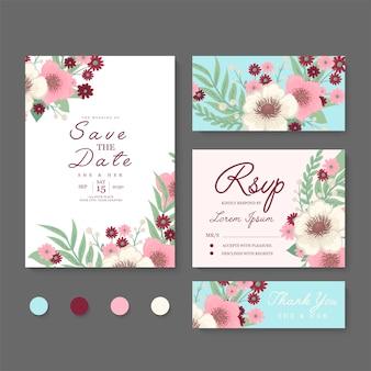 Conjunto de tarjeta de boda floral