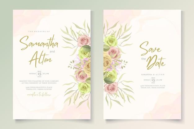 Conjunto de tarjeta de boda minimalista con decoración floral