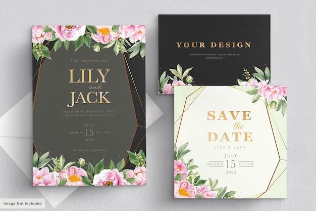Conjunto de tarjeta de boda rosa suave
