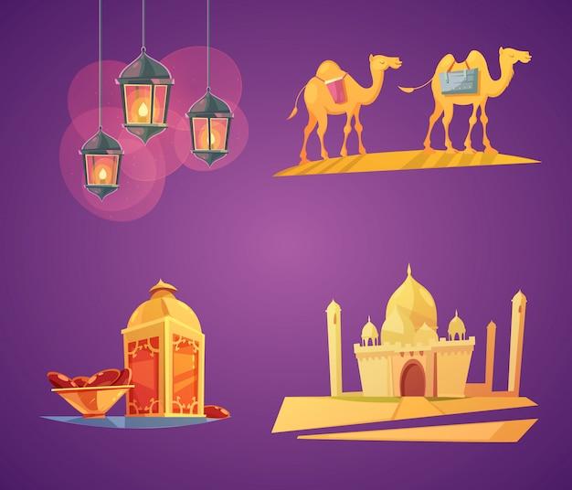 Conjunto de tarjeta colorida de los elementos del ramadán de la historieta