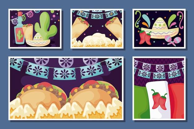 Conjunto de tarjeta de comida mexicana