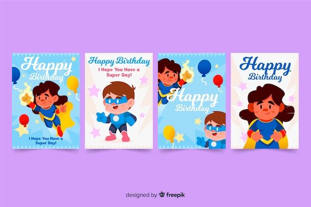 Conjunto de tarjeta de cumpleaños dibujado a mano