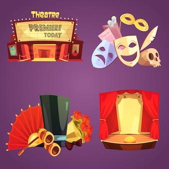 Conjunto de tarjeta de decoraciones teatrales de teatro.