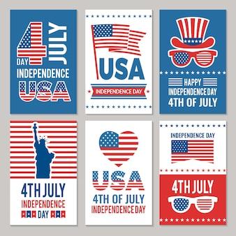 Conjunto de tarjeta del día de la independencia de estados unidos