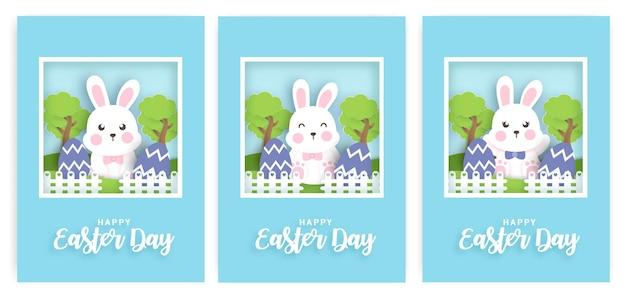 Conjunto de tarjeta del día de pascua con conejo y huevo de pascua.