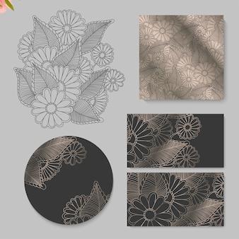 Conjunto de tarjeta con dibujo de flores