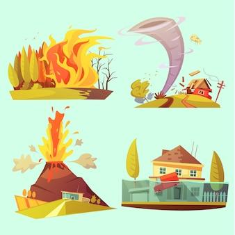 Conjunto de tarjeta de dibujos animados retro de desastre natural