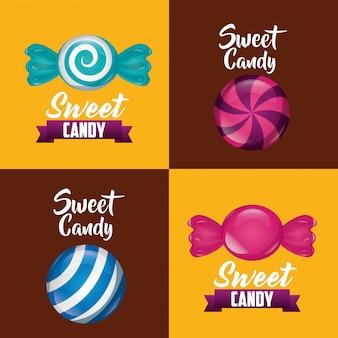 Conjunto de tarjeta de dulce caramelo