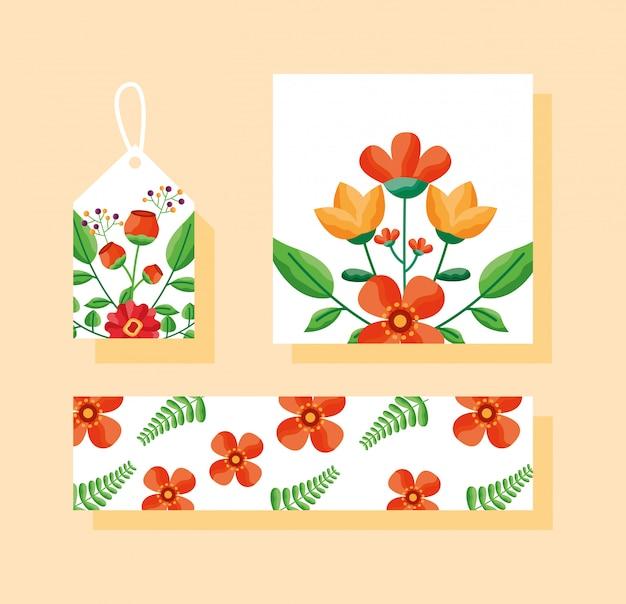 Conjunto de tarjeta, etiqueta o etiqueta y pancarta con tema de flores