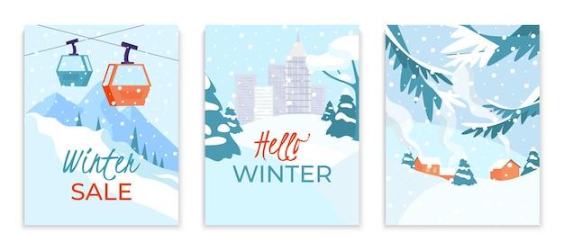 Conjunto de tarjeta de evento de gran venta de compras de invierno paisaje